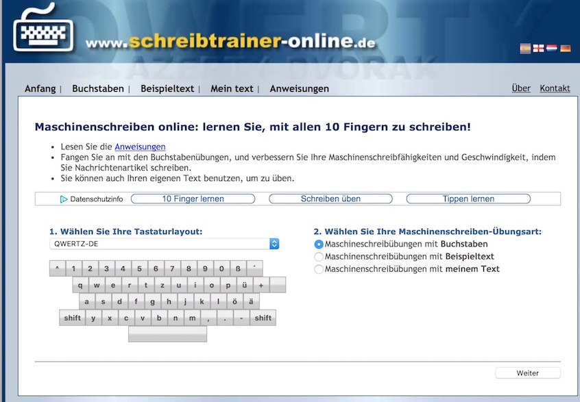 Schreibtrainer online