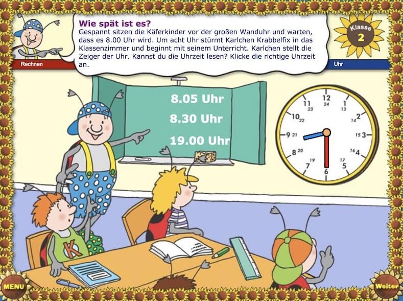 Uhrzeit lernen online