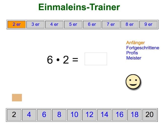 Einmaleins online Übungen